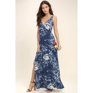 LuLu's Blue Tie Dye Maxi Dress